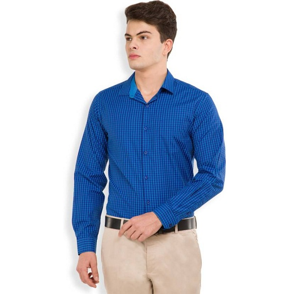 Mark Taylor Mens Checkered Formal Blue Shirt
