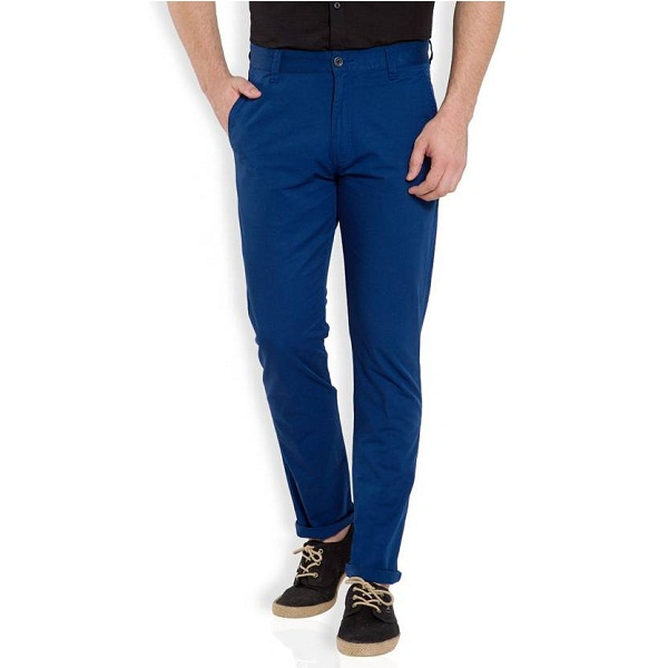 HIGHLANDER Slim Fit Mens Blue Trousers