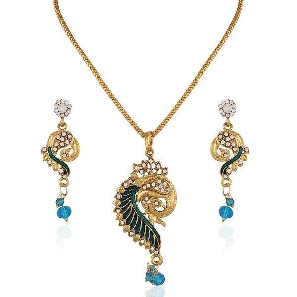 Variation Rana Blue Peacock pattern Chain Pendant Set