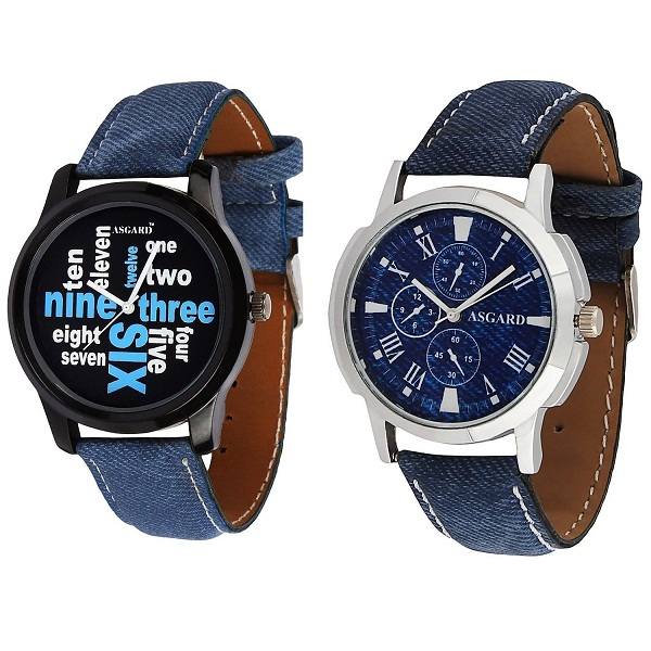 Asgard Set of 2 Trendy Analog Multicolour Dial Watches for Men