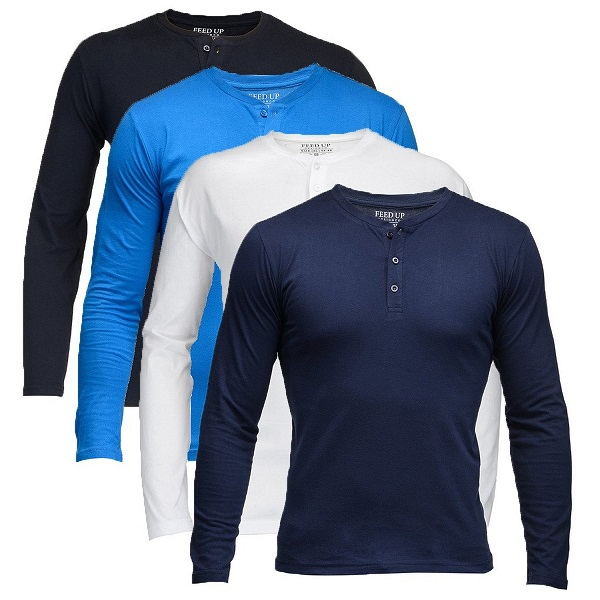 Feed Up Mens Henley Tshirt Pack of 4