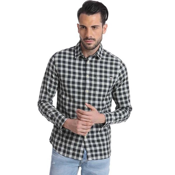 Jack n Jones Mens Checkered Casual Green Shirt