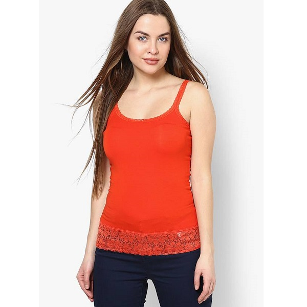 Only Casual Noodle strap Solid Womens Red Top