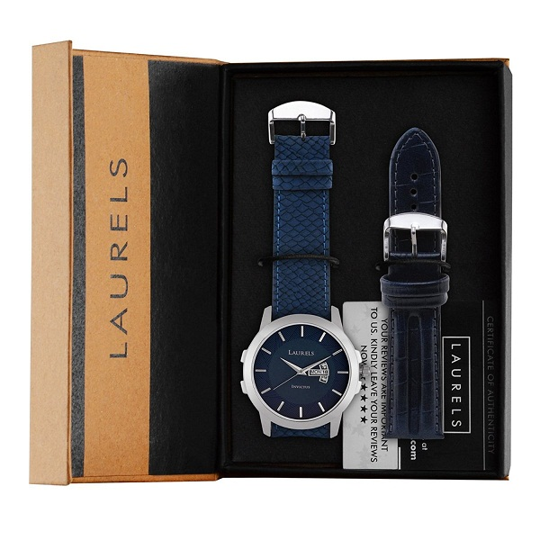 Laurels Invictus 6 Large Blue Dial Date Display Mens Watch