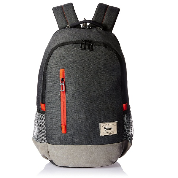 Gear Polyester 24 Ltrs Charcoal Grey Orange Casual Backpack