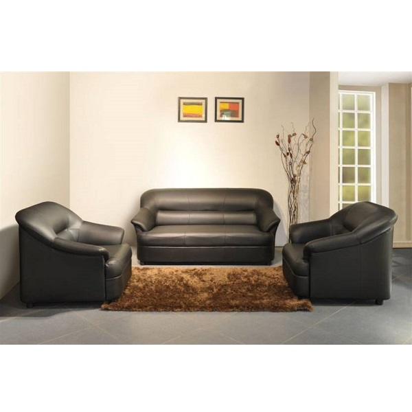 Spacewood Leatherette Black Sofa Set
