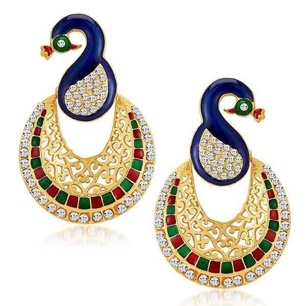 Sukkhi Glamorous Peacock Gold Plated Australian Diamond Earrings for Women