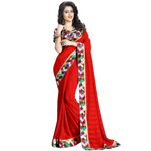Oomph Geometric Print Fashion Chiffon Sari