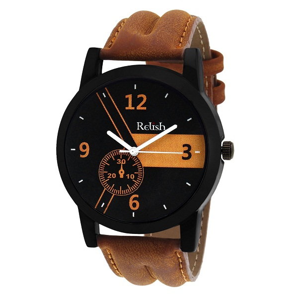 Relish Casual Analogue Tan Leather Strap Multicolour Dial Mens Watch