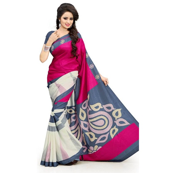DESIGN WILLA Printed Fashion Art Silk Sari
