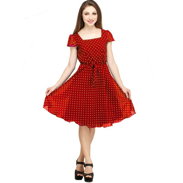 Color Fuel Womens A line Red Dress