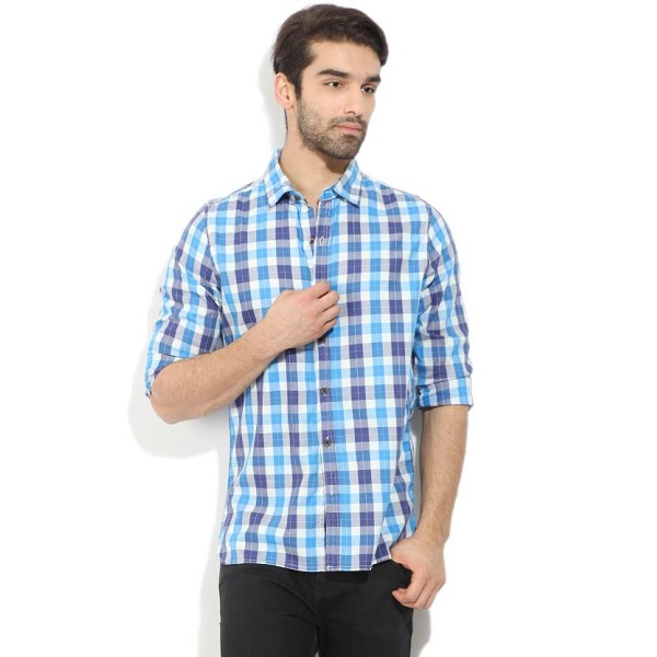 WROGN Mens Checkered Casual White Blue Shirt