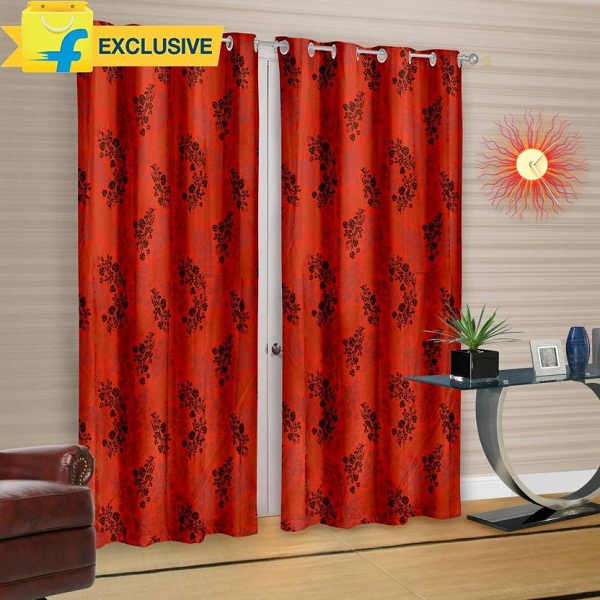 Pack of 2 Cortina Polyester Multicolor Floral Eyelet Door Curtain
