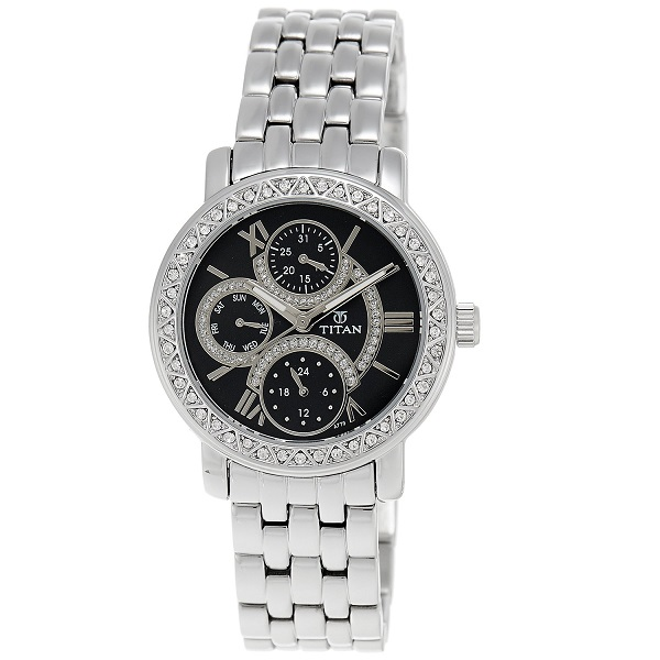 Titan Purple Analog Black Dial Womens Watch