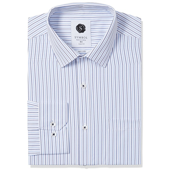 Symbol Mens Formal Stripe Slim Fit Shirt