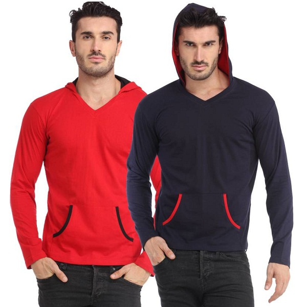 Leana Solid Mens Hooded Multicolor TShirt Pack of 2