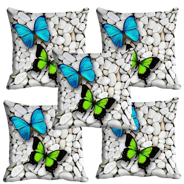 meSleep Colorful Butterfly 3D Cushion Cover Set of 5