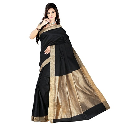 e Vastram Womens Solid Cotton Silk Plain Saree