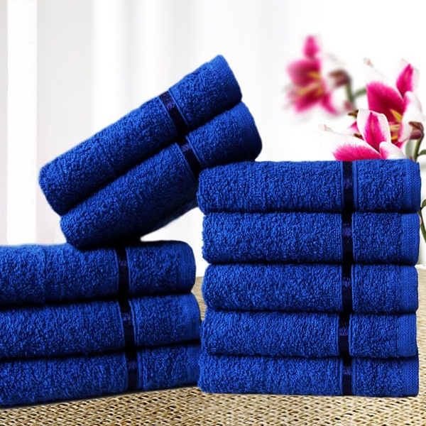 Story Home Sensational Solid 10 Piece Cotton Face Towel Set