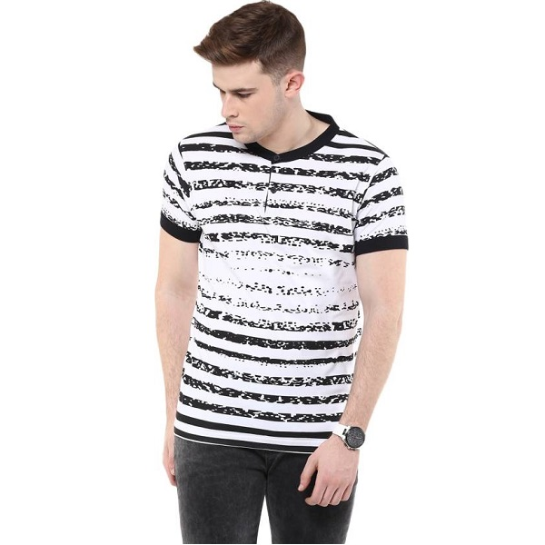 Avoir Envie Striped Mens Fashion Neck White Black T Shirt
