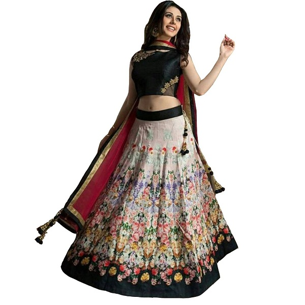 Clickedia Womens Bhagalpuri Silk Flower Print Lehenga With Net Dupatta And Embroidered Blouse PC