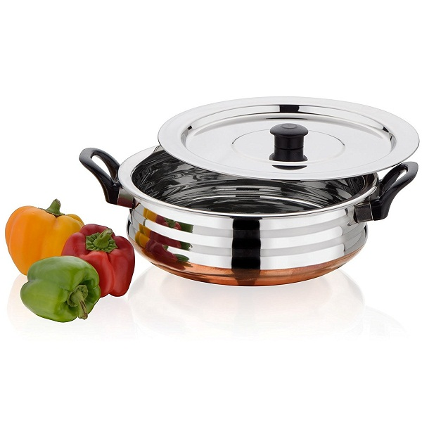 Bhalaria Copper Bottom Stainless Steel Urli and Lid Set