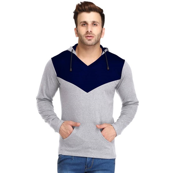 Leana Solid Mens Hooded Blue Grey TShirt