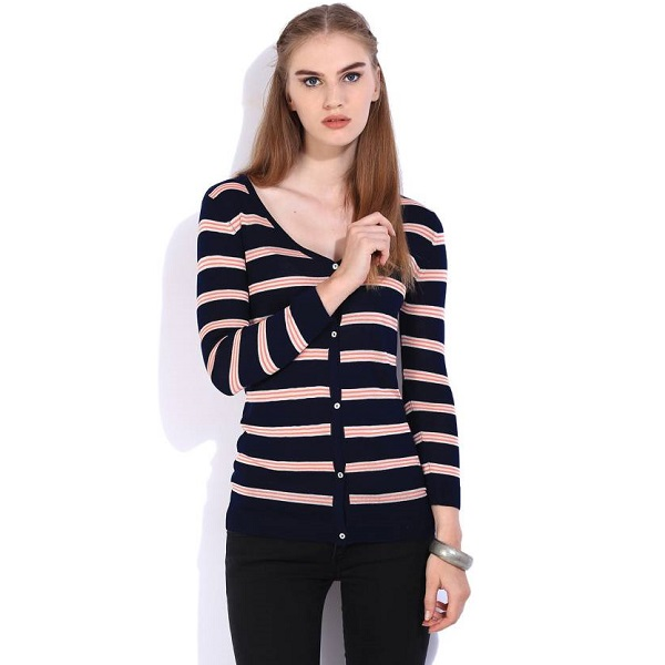 Lee Striped Casual Womens Dark Blue Orange Sweater