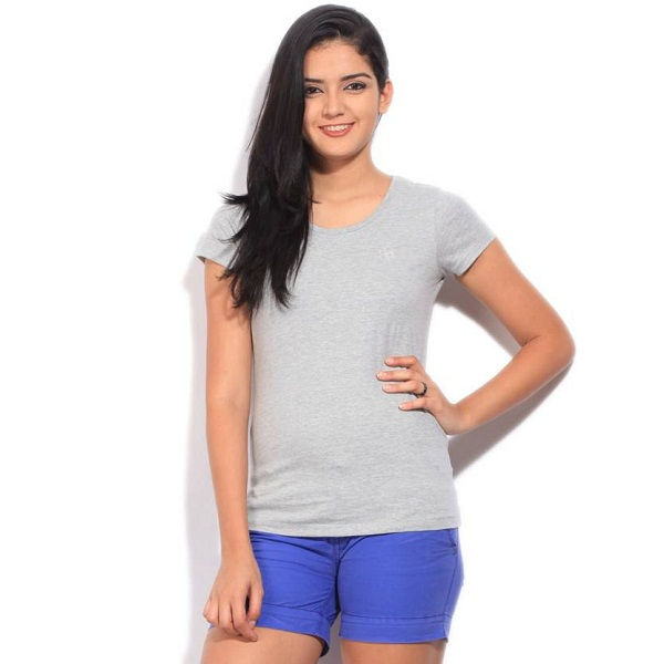 Flying Machine Solid Womens Round Neck Grey TShirt