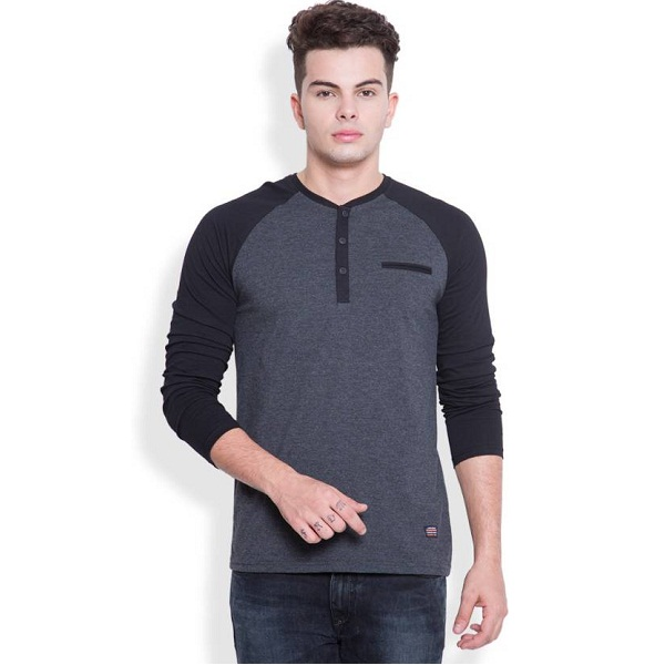 HIGHLANDER Solid Mens Henley Grey Black TShirt
