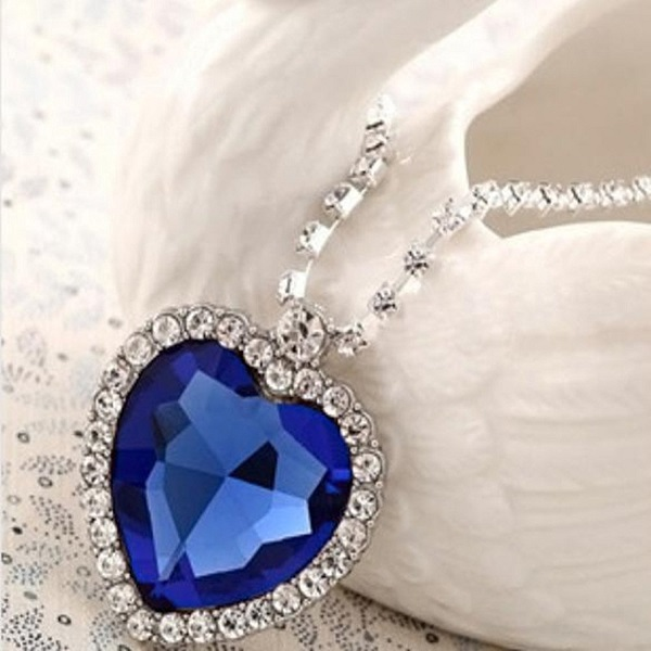 Sapphire Blue Heart Of The Ocean Titanic Necklace Pendant with Chain