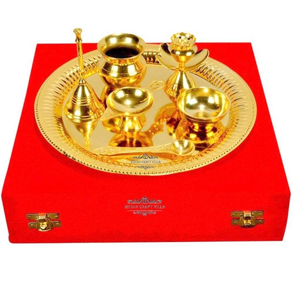 Indian Craft Villa Brass Pooja And Thali Set