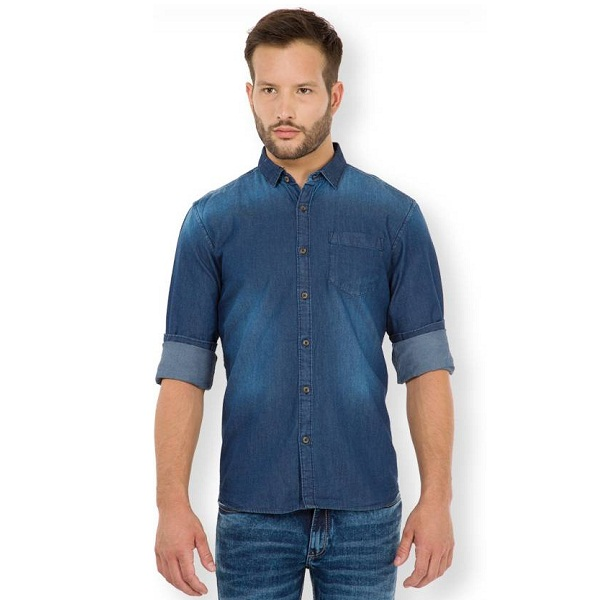 HIGHLANDER Mens Solid Casual Dark Blue Shirt