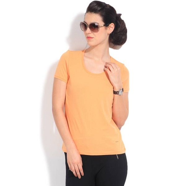United Colors of Benetton Solid Womens Round Neck Orange T Shirt
