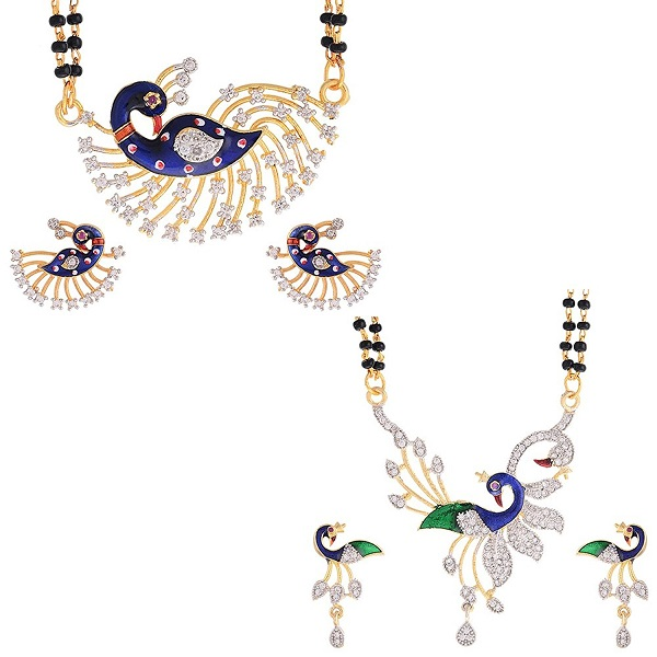 Zeneme Womens Pride Peacock Design Mangalsutra Combo set of 2