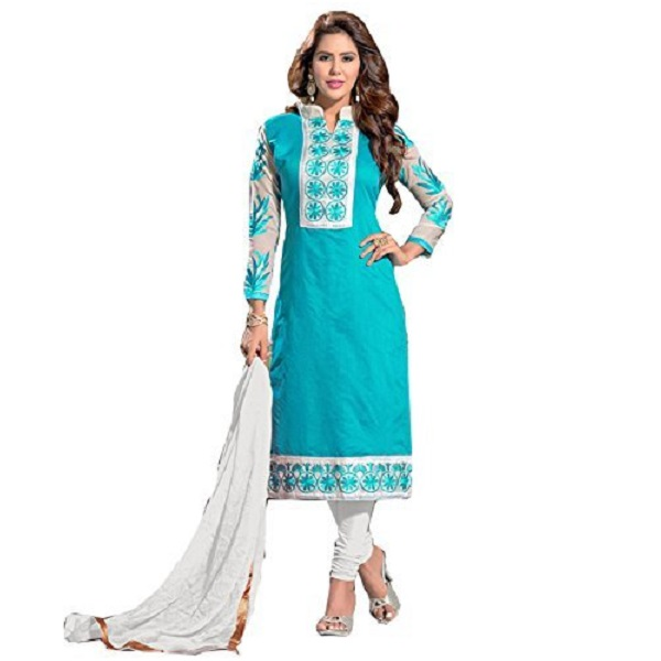 Blissta Light Blue Chanderi Embroidered Straight Dress