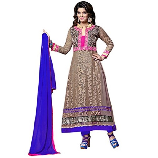 Vibes Womens Net Patch Work Anarkali Dress Material