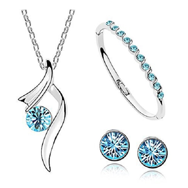 Habors Blue Austrian Crystal Starshine Trendy Pendant Set