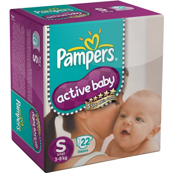 Pampers Active Baby Diapers Taped Small Size 22 Pieces