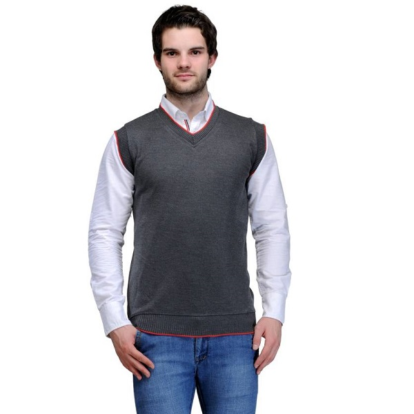 TSX Solid V neck Casual Mens Grey Sweater