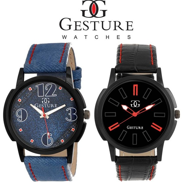 Gesture Combo of 2 Black And Blue Diplomat Combination Analog Watch