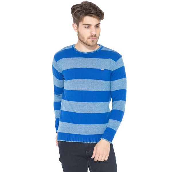 Status Quo Mens Reversible Blue Sweater