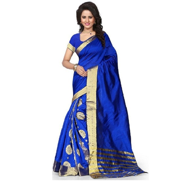 Stutti Fashion Self Design Womens Blue Cotton Silk Saree
