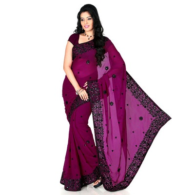 Designersareez Self Design Fashion Georgette Sari