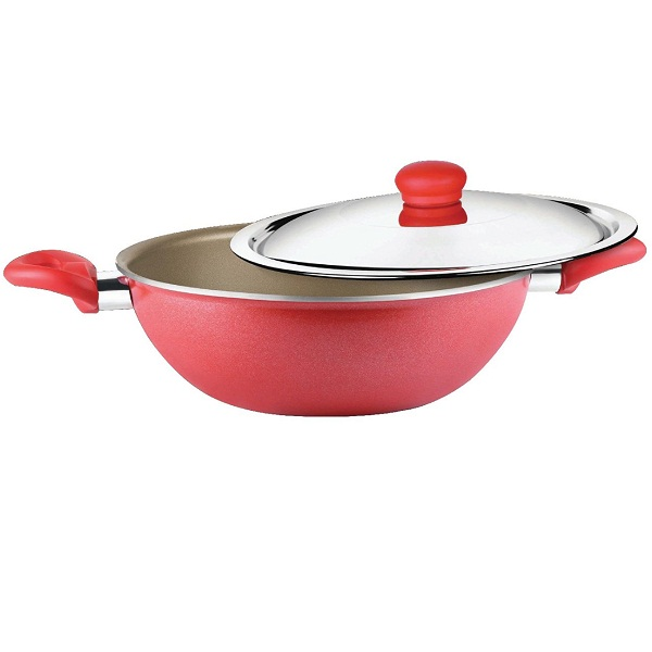 Prestige Omega Gold Induction Base Non Stick Aluminum Kadhai with Lid