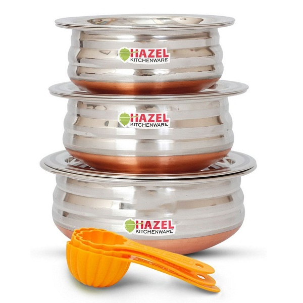 HAZEL Copper Bottom Kadai Urli with Lid 3 Pcs Set Free 3 Pc Scoop Set