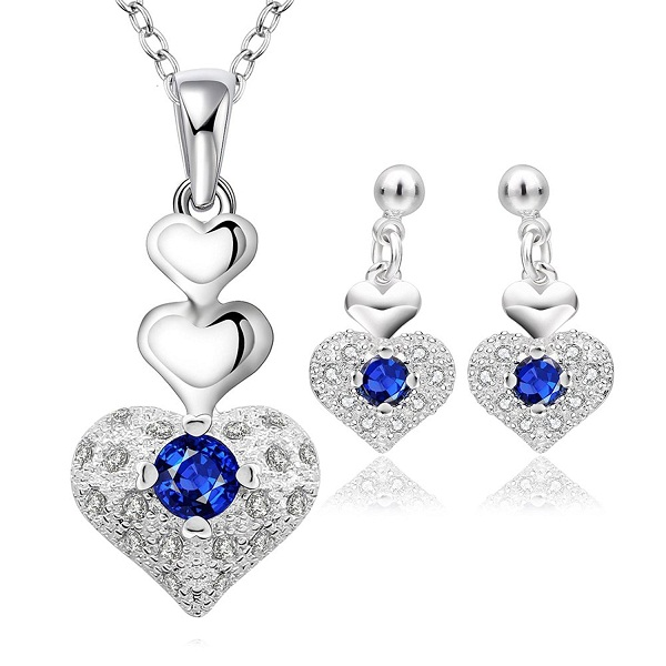 YELLOW CHIMES Rich Royal Heart Austrian Crystal Blue Pendant Set with Earrings