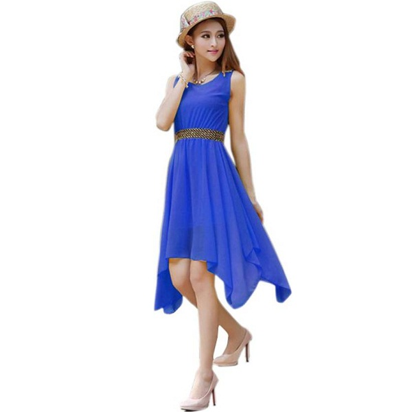 Khantil Womens Fit and Flare Blue Dress