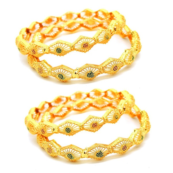 Eshopitude Yellow Gold Plated 4Pc Bangle Set