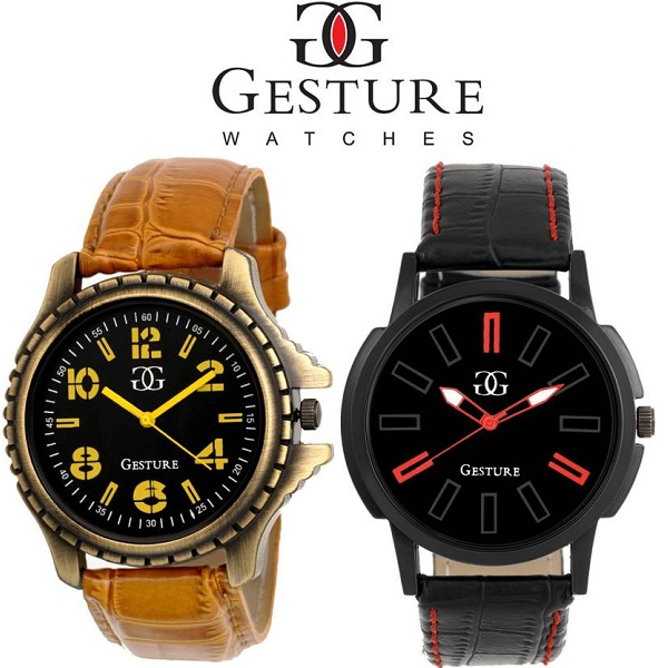 Gesture Combo of 2 Diplomat Combination Analog Watch